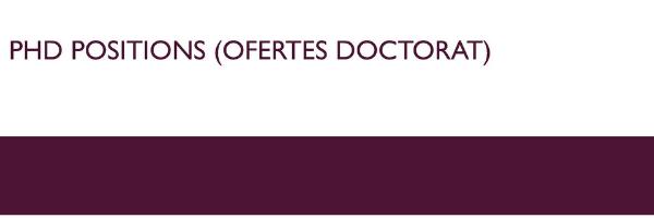 PhD positions (Ofertes Doctorat), (obriu en una finestra nova)